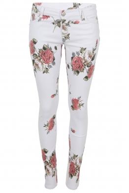 Дамски дънки GD 6119 бели на цветя