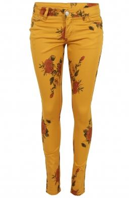 Дамски дънки GD 6233 жълти на цветя