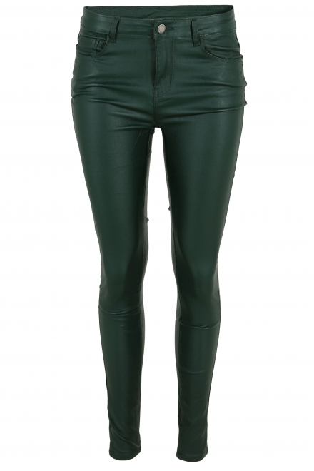 Дамски дънки с кожен ефект F 048-8 зелени
