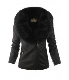 Дамско макси кожено яке 18006 черно