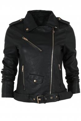 Дамско  кожено яке AY 033 черно