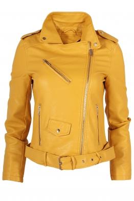 Дамско  кожено яке AY 033 жълто