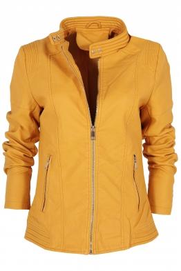 Дамско  кожено яке AY 189 жълто