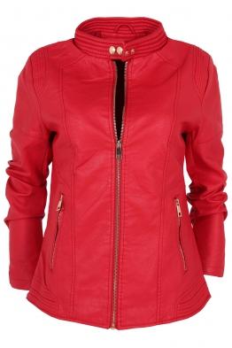 Дамско  кожено яке AY 189 червено