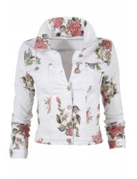 Дамско дънково яке 6120 бяло на цветя