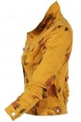 Дамско дънково яке 6235 жълто на цветя