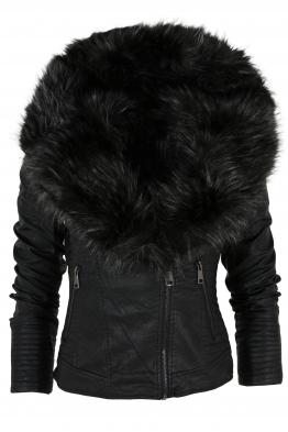 Дамско кожено яке 75037 черно