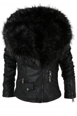 Дамско кожено яке 75038 - черно