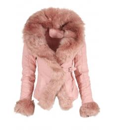 Дамско  кожено яке AW 630 розово