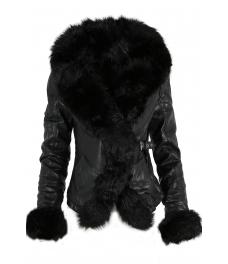 Дамско  кожено яке AW 630 черно