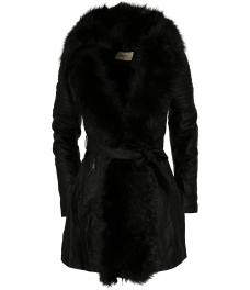 Дамско макси кожено яке с каракул18003-1