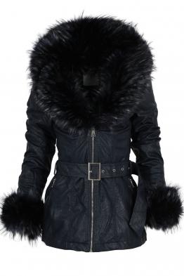 Дамско  кожено яке 9580 тъмно синьо
