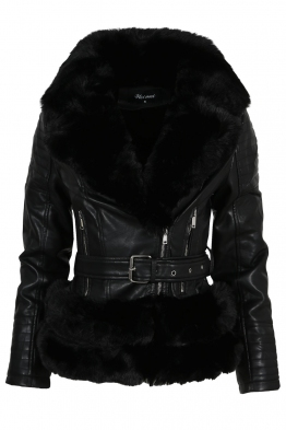 Дамско зимно кожено яке A-240-56 черно
