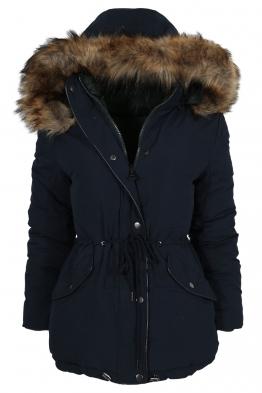 Дамско зимно яке с две лица 5976B-415 тъмно синьо/зелено