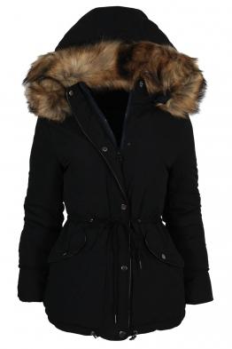 Дамско зимно яке с две лица 5976B-415 черно/тъмно синьо