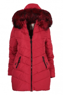 Дамско зимно яке A-1858 червено