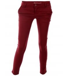 Дамски чино панталон F8870 бордо