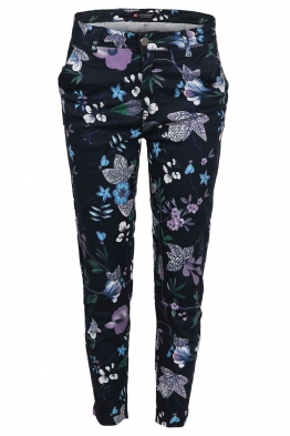 Дамски панталон на цветя SFC 1601 тъмно син