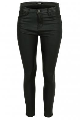Дамски ватиран панталон с кожен ефект S5027 черен
