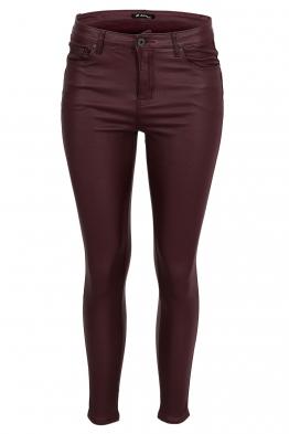 Дамски ватиран панталон с кожен ефект S5027 бордо