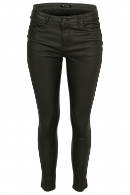 Дамски ватиран панталон с кожен ефект S5027 зелен