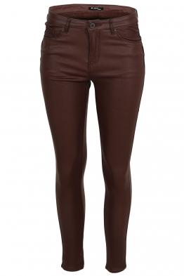 Дамски ватиран панталон с кожен ефект S5027 кафяв
