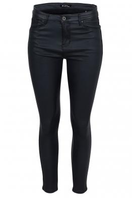 Дамски ватиран панталон с кожен ефект S5027 тъмно син