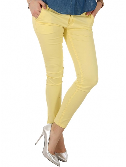 Дамски чино панталон F8866 жълт