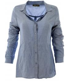 Дамска риза Анел синя с бели райета