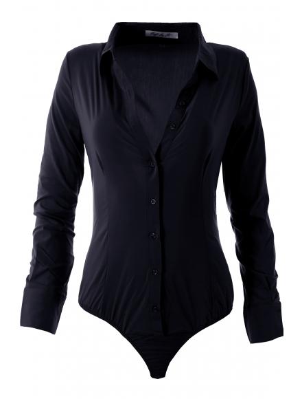Дамска риза боди 16160 тъмно синя