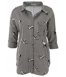 Дамска риза 2353 черно райе