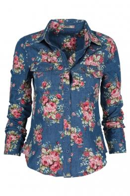 Дамска дънкова риза на цветя 1076