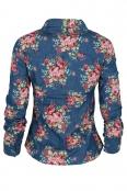 Дамска дънкова риза на цветя 1076-1