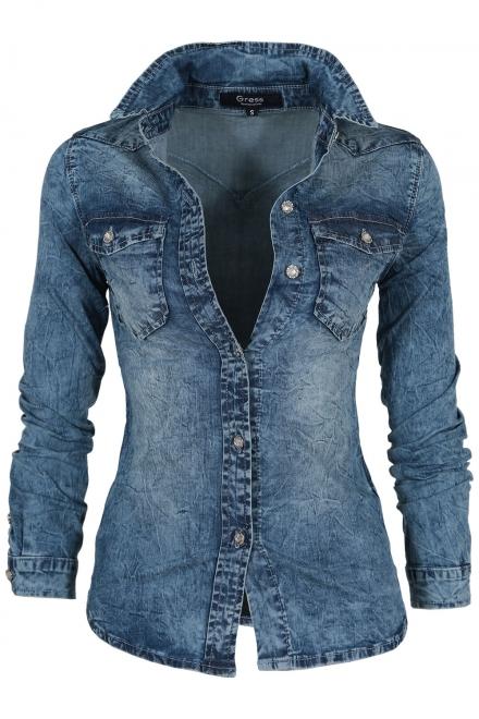 Дамска дънкова риза 9313
