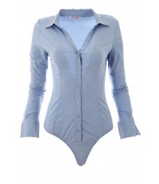 Дамска риза боди 8891 светло синя