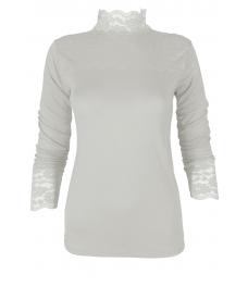 Дамско полуполо с дантела МАРСИЯ бяло
