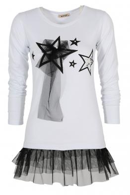 Дамска блуза с дълъг ръкав HAPPY STARS бяла