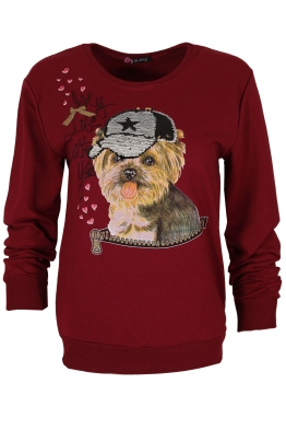 Дамска блуза DOG бордо