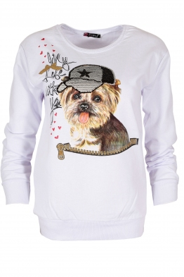 Дамска блуза DOG бяла