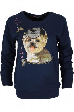 Дамска блуза DOG тъмно синя