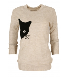 Дамски пуловер  BLACK CAT бежов