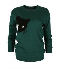 Дамски пуловер  BLACK CAT зелен