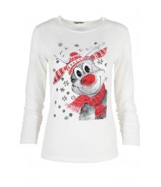 Дамска блуза Коледен Елен екрю