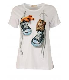 Дамска блуза DOG AND CAT бяла