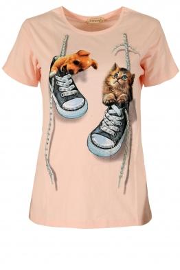 Дамска блуза DOG AND CAT пудра