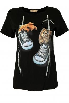 Дамска тениска DOG AND CAT черна