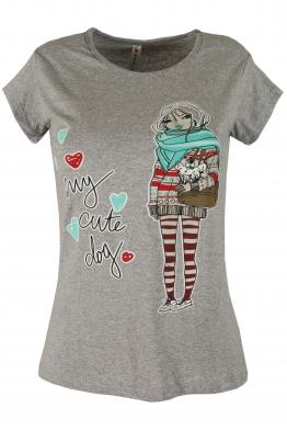 Дамска тениска GIRL A-2 сива