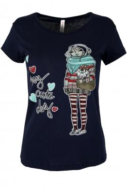 Дамска тениска GIRL A-2 тъмно синя