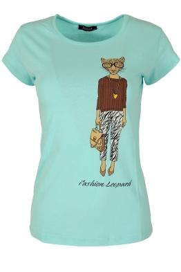 Дамска блуза LADY LEOPARD мента