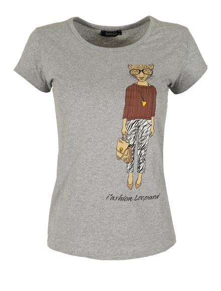 Дамска блуза LADY LEOPARD сива